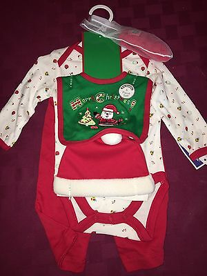 CARTER'S DELUXE 6 PIECE CHRISTMAS HOLIDAY LONG-SLEEVE OUTFIT W/ HAT SIZE 3-6M
