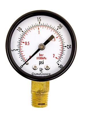 2 Utility Pressure Gauge - 14 Npt Lower Mount Black Steel Case 0-30psi