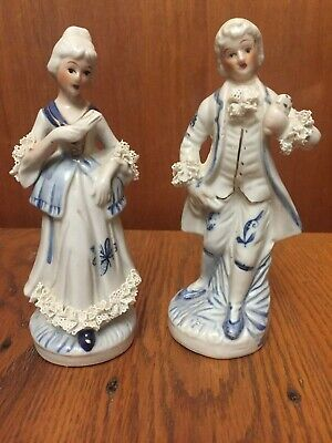 "VICTORIAN COUPLE FIGURINES - 6 1/4"" TALL - MADE IN TAIWAN - VERY PRETTY"