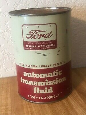 Rare Vintage Old Ford 1 Quart Transmission Fluid Oil Can Mercury Lincoln Full