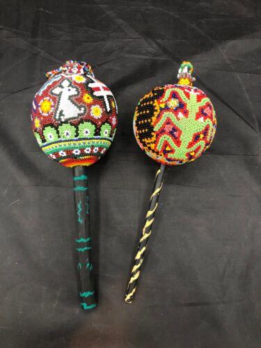 Huichol Beaded Rattles Folk Art