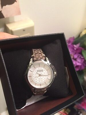 Coach Women Watch Stainless Brown Classic Logo Signature Strap 14501525 $195