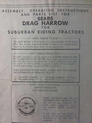 Sears Suburban 3-point Spike Harrow Garden Tractor Owner Parts Manual 917.60607
