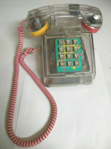 Rare Cool Vintage Cortelco phone Clear Transparent Telephone Push Button 80s 90s