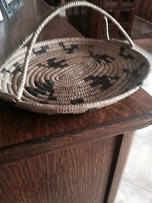 Papago Basket with handle. From private collection. Dated 1930. 13x11/4. Handle