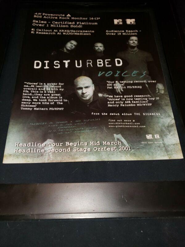 Disturbed Voices Rare Original Radio Promo Poster Ad Framed! #4