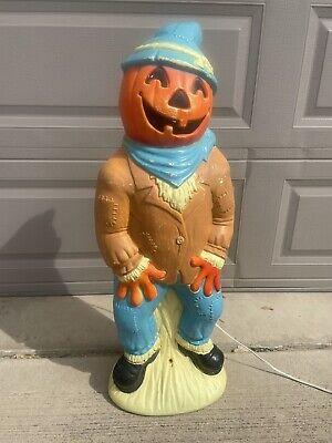 "Vintage Halloween Empire Blow Mold 34"" Pumpkin Head Scarecrow Tested & Working"