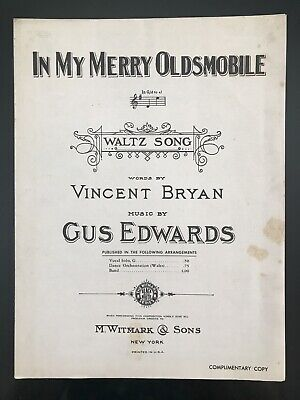 VTG 1910 Sheet Music In My Merry Oldsmobile Automobile Car Advertisement Jingle