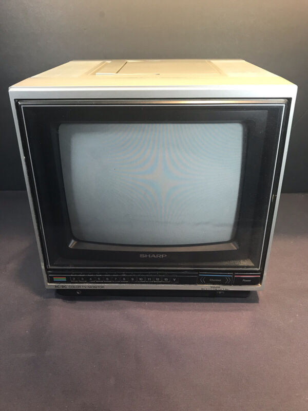 Vintage 1984 Sharp Portable TV Model 9H102 Retro Computer Gaming
