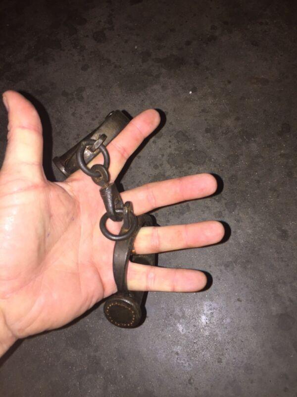Shackles Handcuff Set Key Lot Yuma Patina Collector Folsom Alcatraz Solid Metal