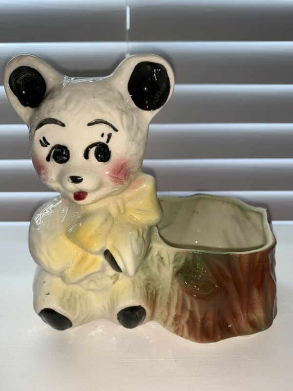 """Vintage AMERICAN BISQUE White BEAR PLANTER POTTERY Yellow Bow Excellent! 6"""" Tall"""