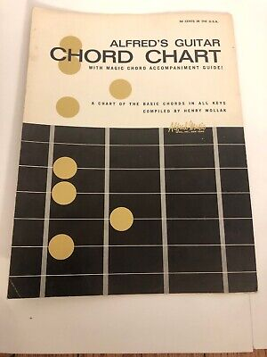 VINTAGE ALFRED'S GUITAR CHORD CHART WITH MAGIC CHIRD ACCOMPANIMENT GUIDE