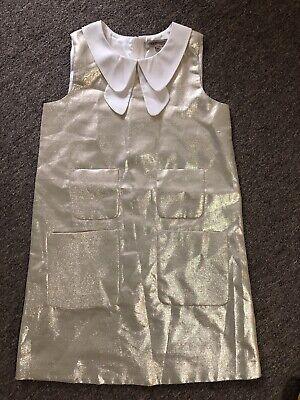 Hucklebones London Dress Gold White Collar 10Y