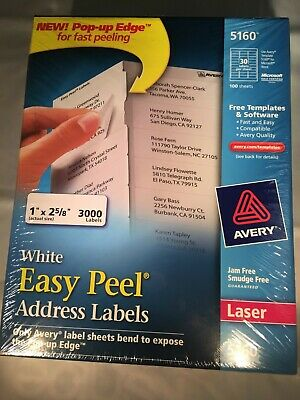 Avery 5160 Easy Peel Address Labels White 1x2-58 3000 Count Free Ship 3427