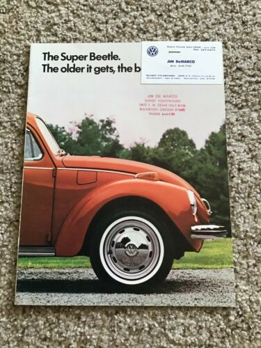 1972  VW Beetle,  original dealership color sales catalogue.