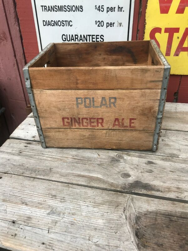 Polar Ginger Ale Soda Crate Wood Wooden Box Display 70s  Graphics Logo Country