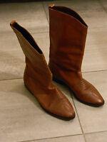 Stivali Texani Ricamati Vintage Marroni Vtg Tan Embroidered Texan Boots Us7.5 38 - boots - ebay.it