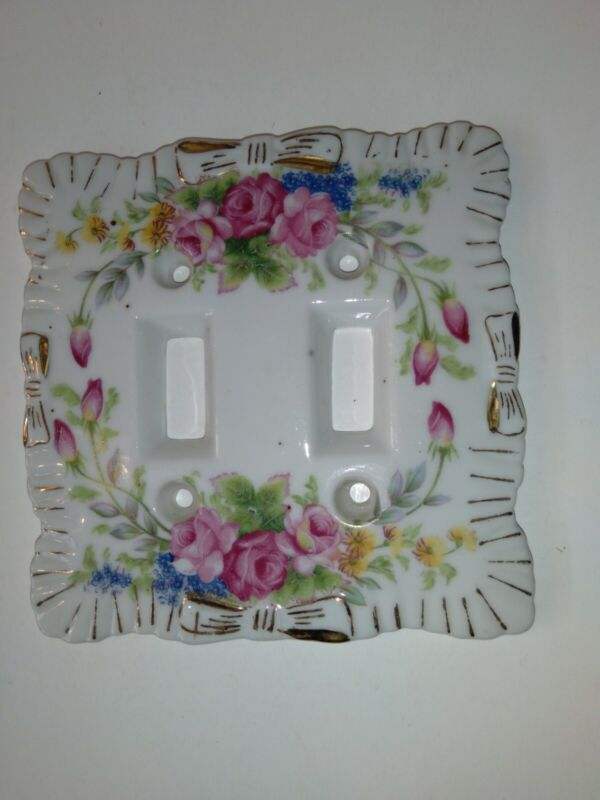 VTG Porcelain Double Light Switch Plate Cover Floral Shabby Chic Japan