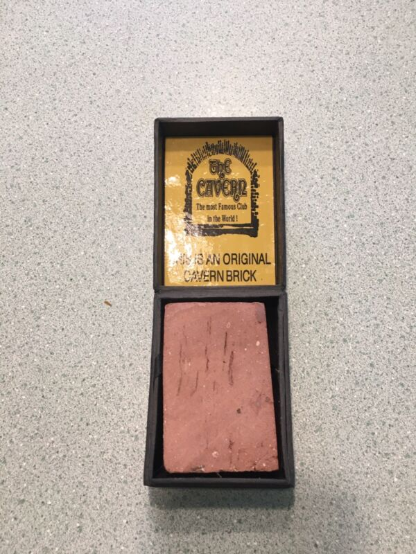 BEATLES CAVERN CLUB BRICK COMES WITH LETTER WITH GEORGE HARRISON MINI GUITAR