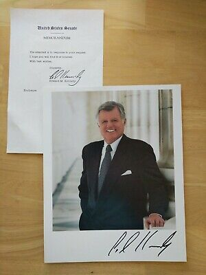 Edward M Kennedy Ted Kennedy Hand Signed 8X10 Autograph Photo and Letter