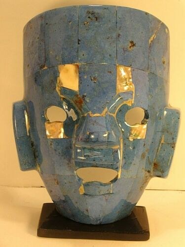 """MAYAN BURIAL Stone MASK Turquoise Blue Mother of Pearl Mosaic 9½"""" Piedra Mascara"""