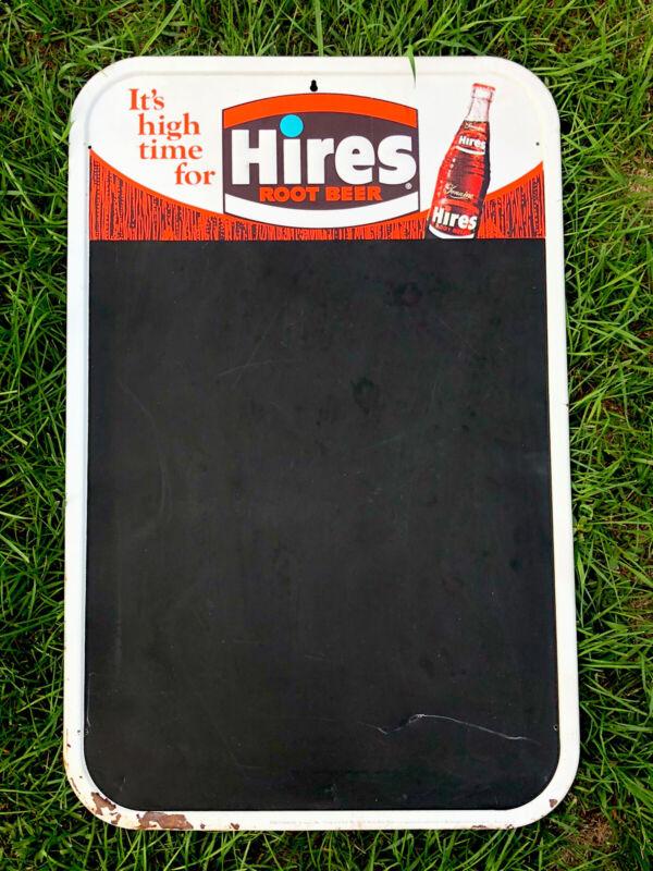 "Vtg 1960s HIRES ROOT BEER Menu Board Sign Tin Chalkboard 30"" Soda Pop Ad Nice"
