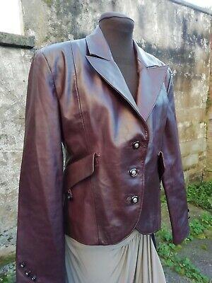 Vtg 90s German Genuine Leather Burgundy Riding Style Ladies Jacket 14/16 Nr Mint