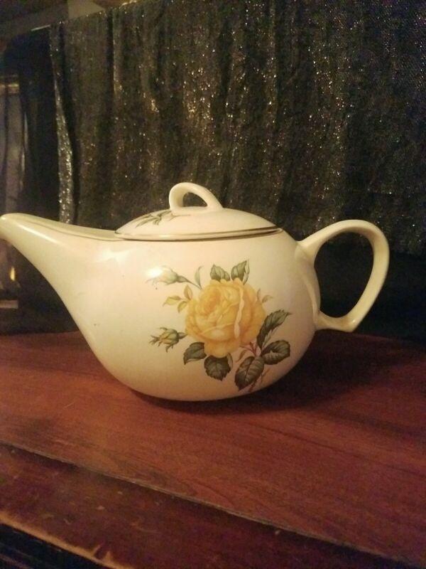 Vintage Collectible Ceramic  Yellow Roses Teapot