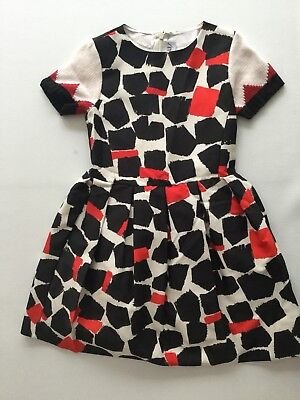 Simonetta Girls Black Red And White Party Dress With Wool Sleeves