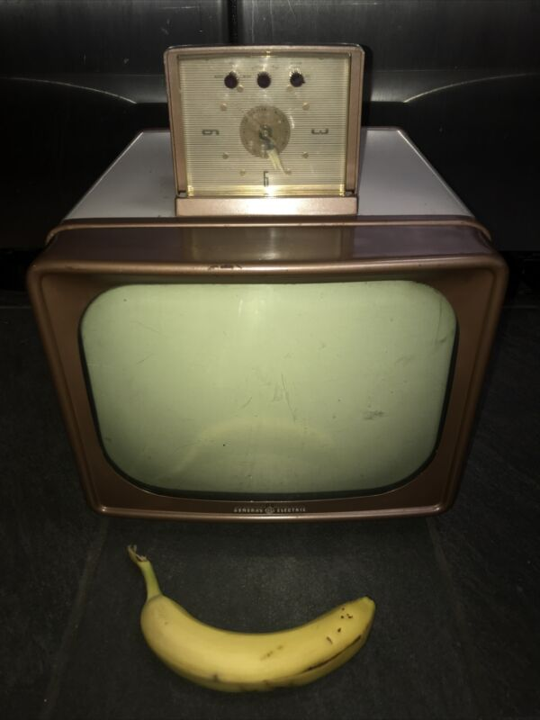 "Vintage 1956 GE General Electric Portable 12"" television tv alarm clock Rare"