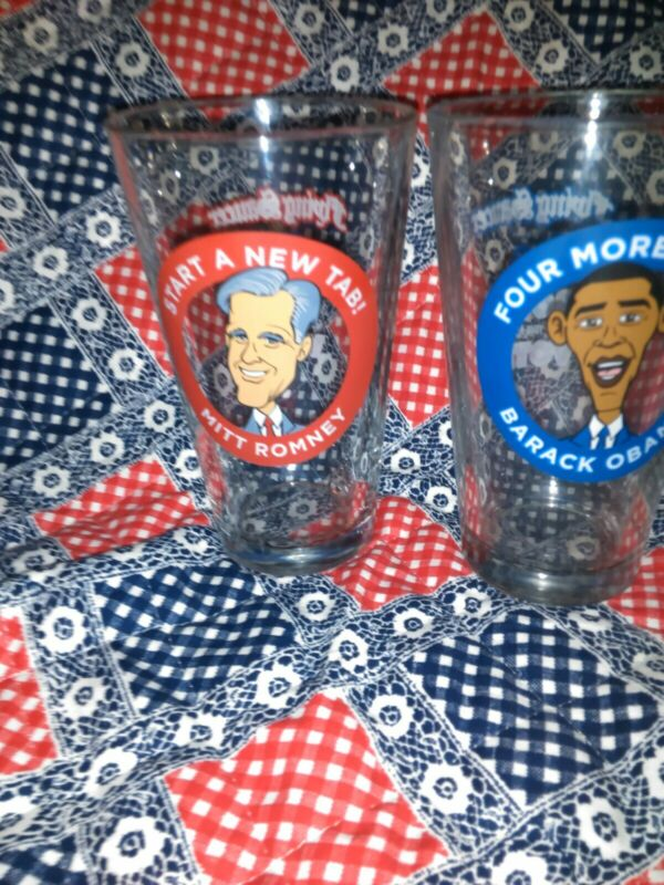 "2012 POLITICAL MEMORABILIA. 2TALL GLASSES.16 OUNCES. BARACK OBAMA  ""FOUR MORE BE"