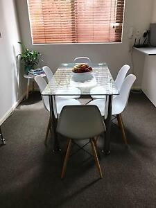 GLASS TOP TABLE w/ STEEL LEGS Bondi Eastern Suburbs Preview