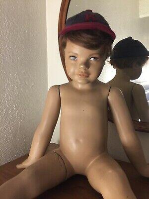 Vintage 60s Wolf Vine Greneker Boy Mannequin Original Wig Seated Child Baby