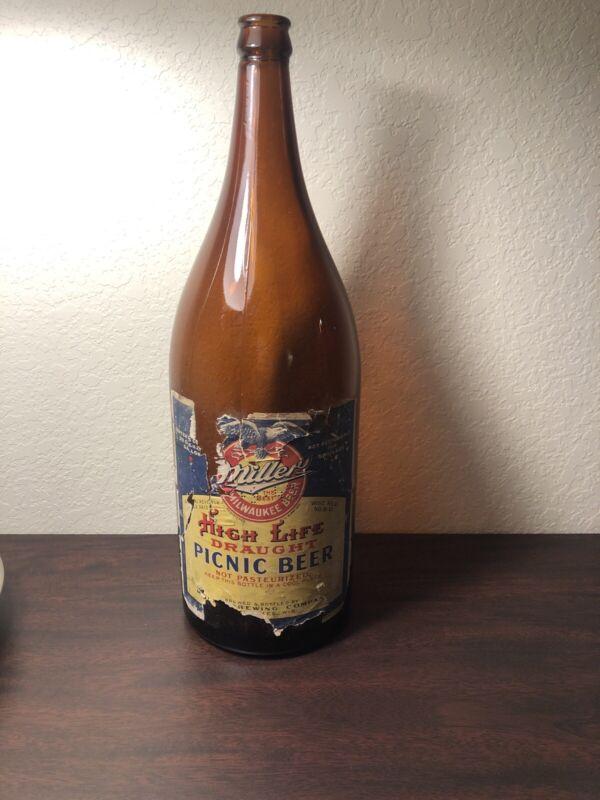 Miller High Life Beer Bottle Paper Label Picnic Beer Old Antique 1940s ... 1943