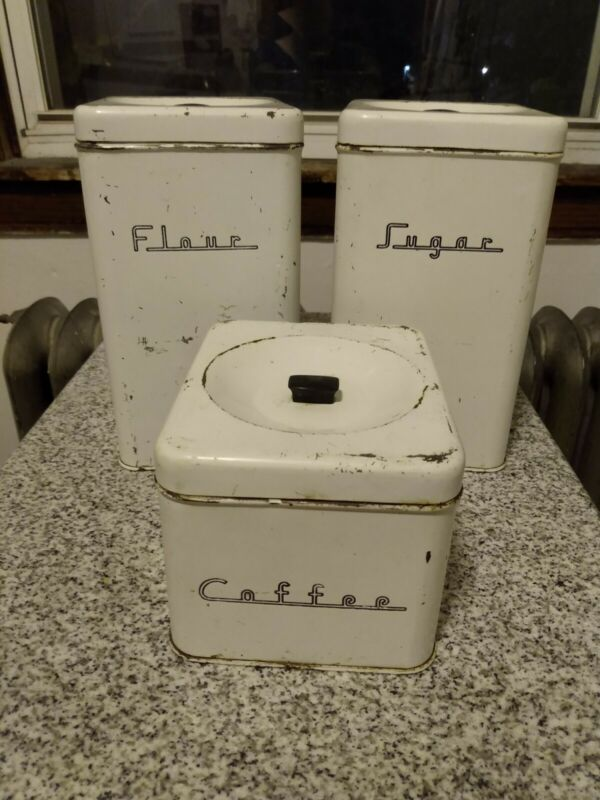Mid-Century Vintage metal kitchen canisters industrial farmhouse shabby chic