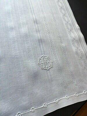 VTG Antique IRISH LINEN Guest Towel Damask Monogram HFE Damask Guest Towel