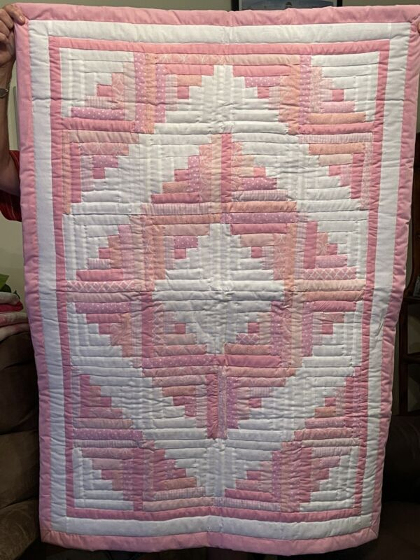 "Pink Handmade Patchwork Log Cabin Baby Quilt 38""x52"""