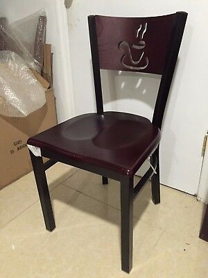 Metal Designer Restaurant Chairs W Cherry Wood Seat Lot Of 20 Chairs