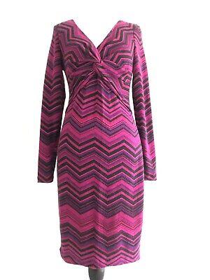 Cache Womens Size S Purple Sweater Dress Gathered Long Sleeves Chevron -