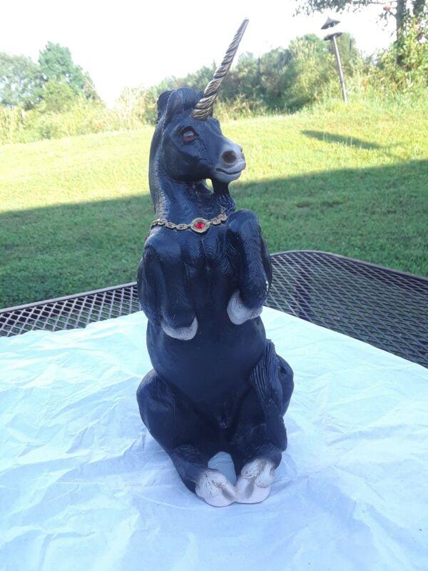 Vintage WINDSTONE EDITIONS Black UNICORN Horse Figurine Statue