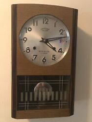 Vintage Century Super Deluxe 31 Day Calendar Wall Chime Clock Glass Date Time