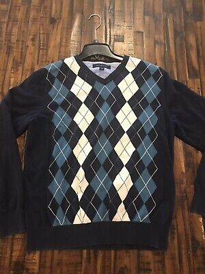 Tommy Hilfiger V-Neck Sweater Mens Argyle Print  Size Medium Cotton Long Sleeve