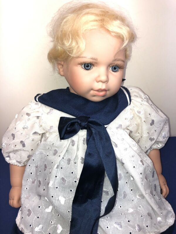 """21"""" Mops Luna Baby's Limited Vinyl Adorable Blonde Baby Doll Mohair & Signed"""