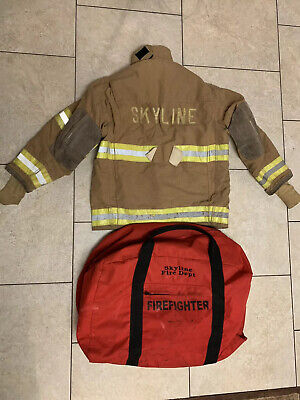 Firefighter Globe Fireman Suit Jacket Bunker Coat  Bag Costume Vintage 46 X 32