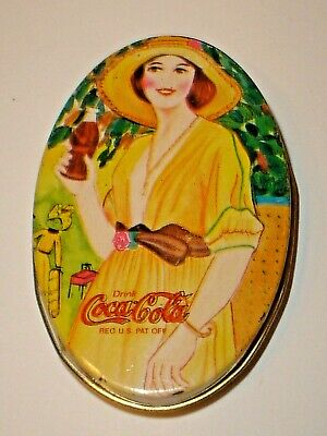 Vintage Coca-Cola Soda Pop Oval Figural Lady Advertising Tin