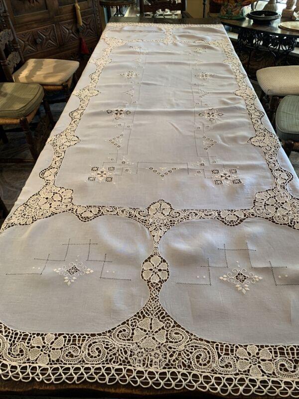 Antique baby blue Linen Tablecloth Reticella lace
