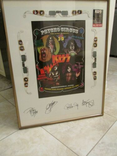 KISS SIGNED POSTER 1998 PSYCHO CIRCUS 3D- FREHLEY- CRISS- SIMMONS- STANLEY- RARE