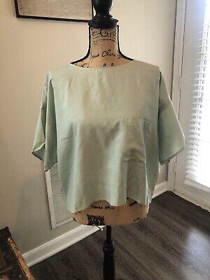Vintage Album By Kenzo Pistachio Green Silk Boxy Cropped Pocket Tshirt Size L