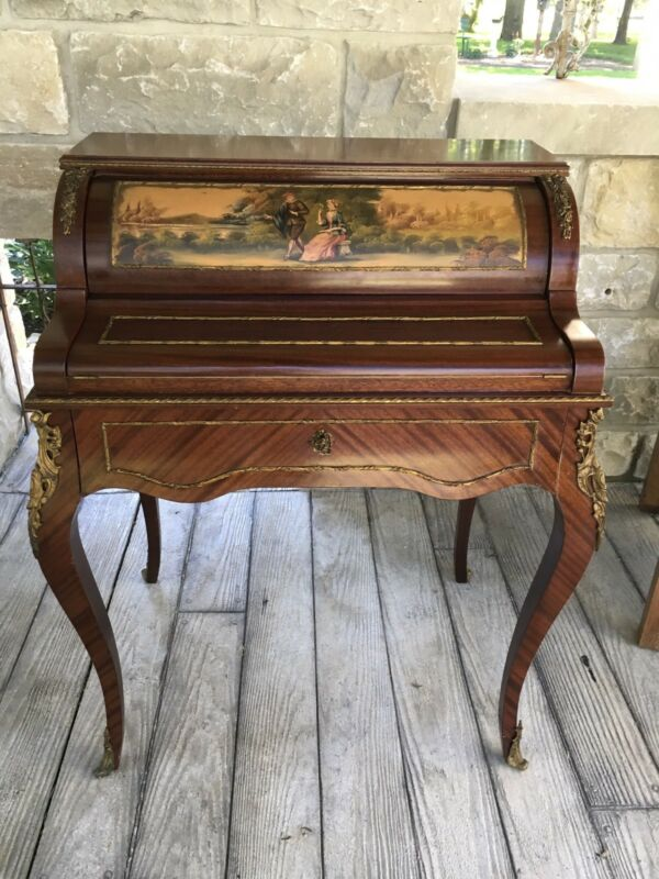 FRENCH PETITE CYLINDER ROLL TOP DESK PAINTING 1930s STUNNING
