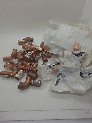 Lot 12 Copper Plumbing Parts Caps Tubes Elbows 50 Pieces B8